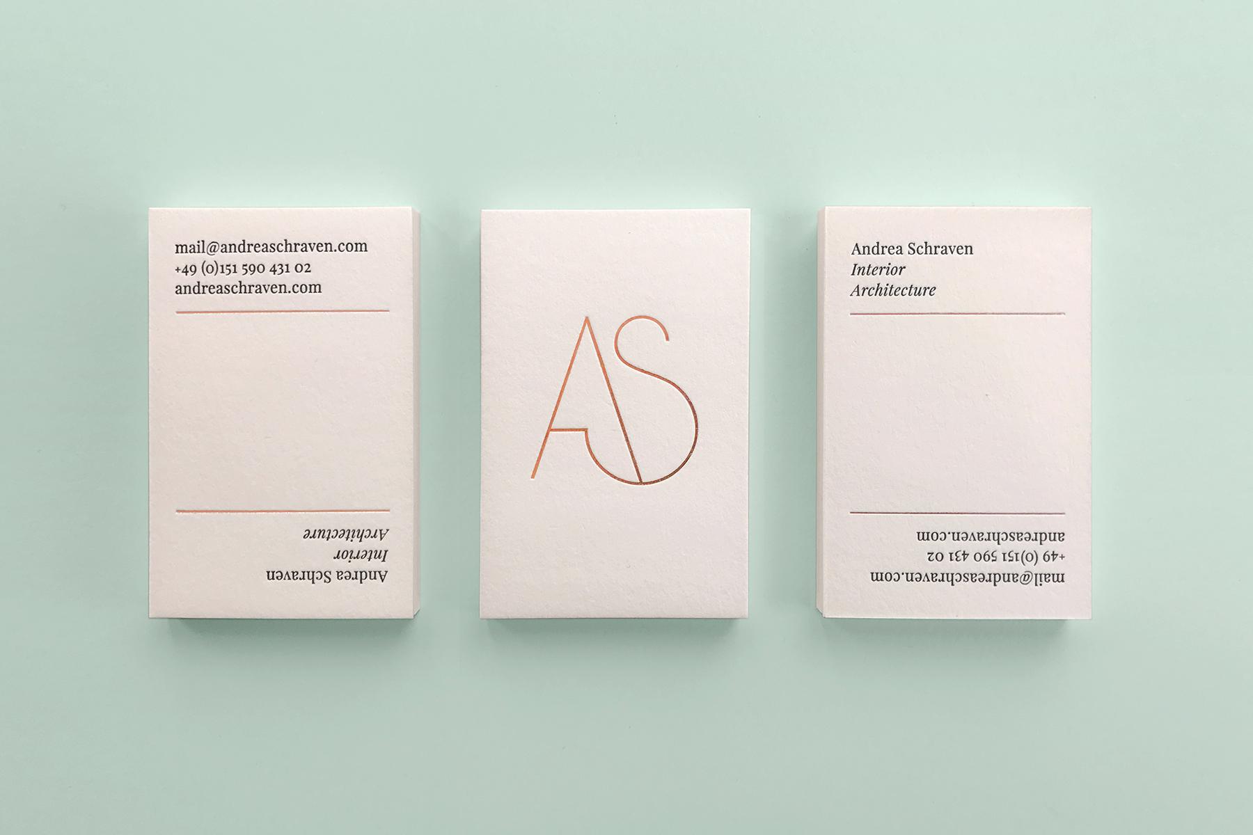 Andrea Schraven Interior Architect / Identity, Web